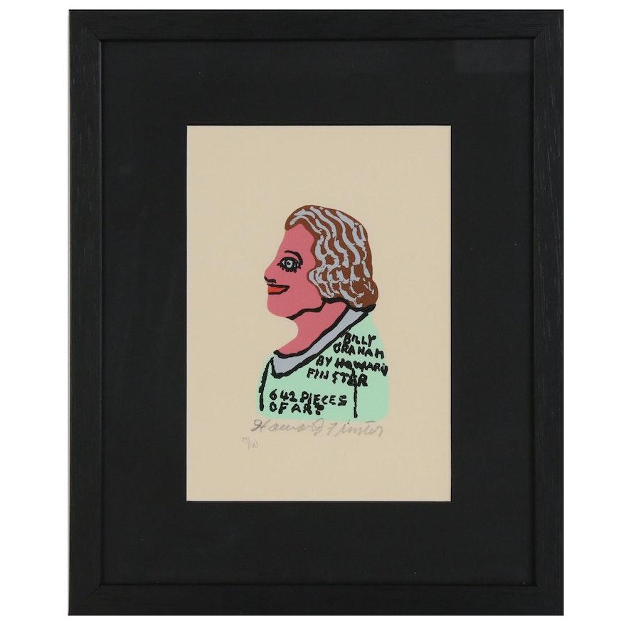 "Howard Finster Serigraph ""Billy Graham"""
