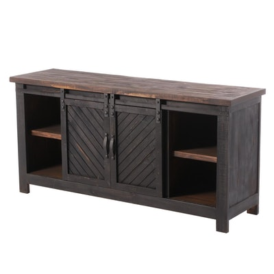 Industrial Style Ebonized Wood Sideboard