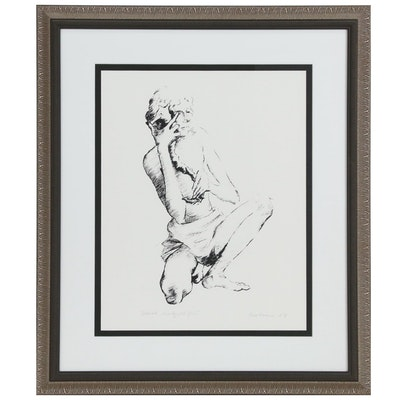 Serigraph of a Figure with a Seahorse, 1987