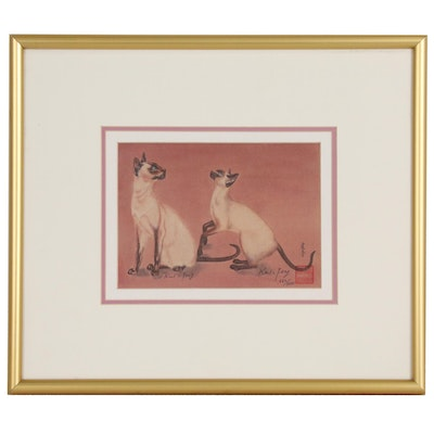 Karl Feng Offset Lithograph of Siamese Cats
