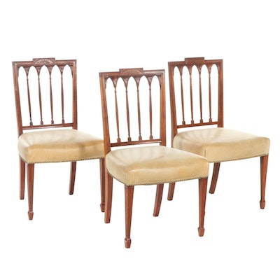 George III Style Leather Upholstered Side Chairs, Mid to Late 20th Century