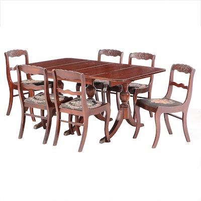 Tell City Federal Style Mahogany Seven-Piece Dining Set, Circa 1940