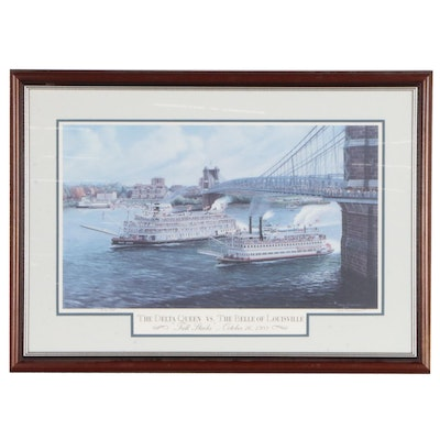 "Dale Benedict Offset Lithograph ""The Delta Queen vs. The Belle of Louisville"""