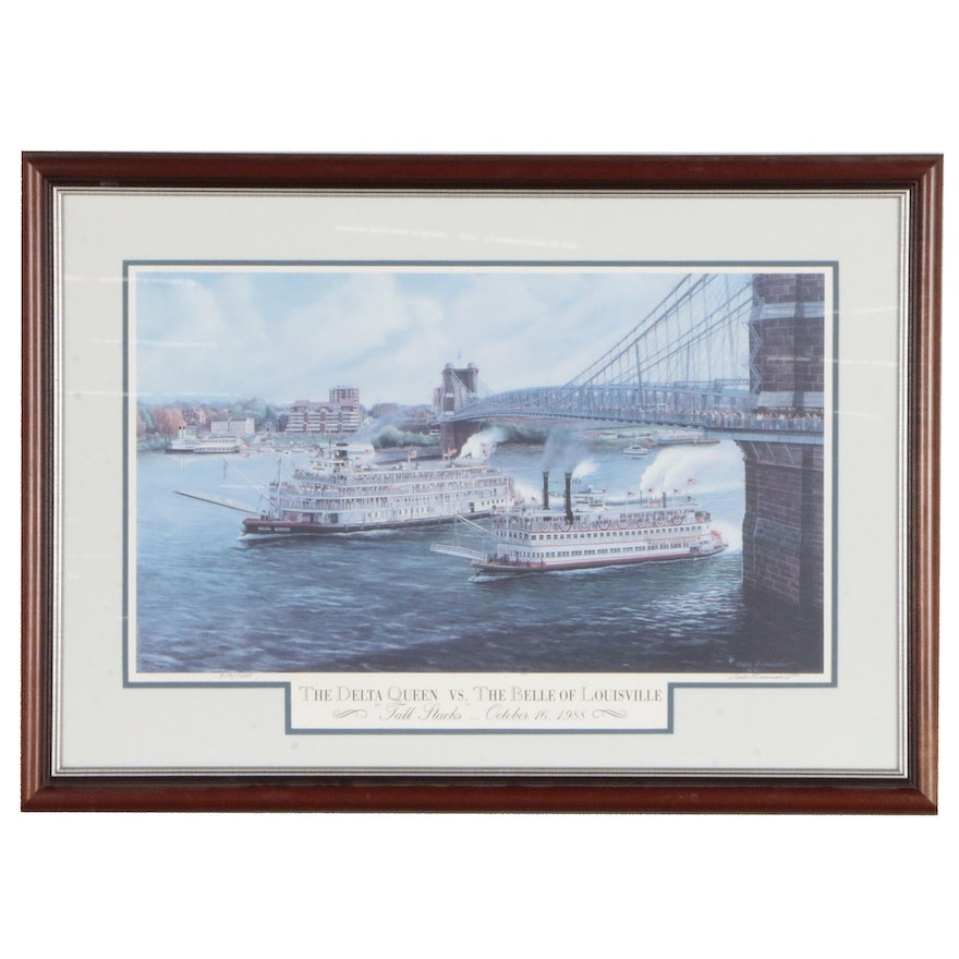 """Dale Benedict Offset Lithograph """"The Delta Queen vs. The Belle of Louisville"""""""