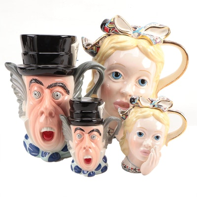 "Cardew Collectibles ""Alice"" and ""Madhatter"" Porcelain Character Teapots"