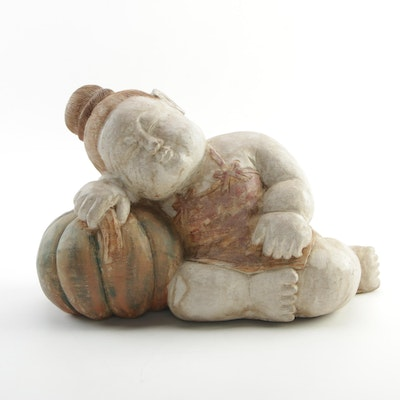 Japanese Wood Sculpture of Napping Child with Gourd