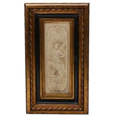 William Wyon Cast Marble Relief in Gilt Frame with Bronze Medallion