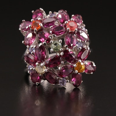 Sterling Silver Rhodolite Garnet Floral Ring with Tanzanite and Sapphire Accents