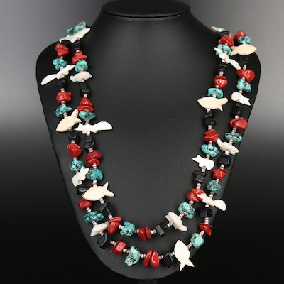 Double-Strand Necklace with Red Jasper, Mother of Pearl and Bone