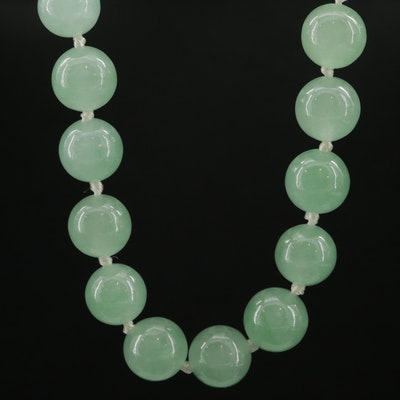 Jadeite Beaded Necklace with 14K Gold Clasp