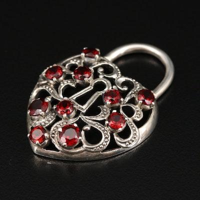 Nicky Butler Sterling Silver Garnet Heart Lock Pendant