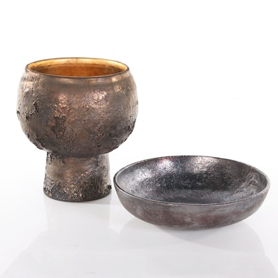 Beatrice Wood Raku Earthenware Chalice and Bowl