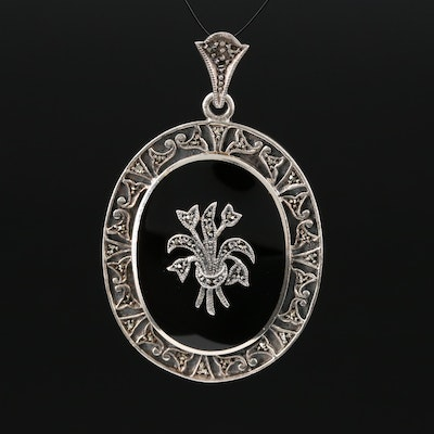 Sterling Silver Black Onyx and Marcasite Floral Pendant