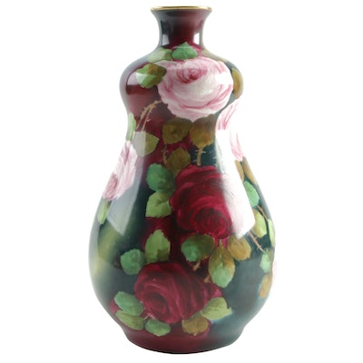 Hand-Painted Porcelain Vase with Rose Motif, 20th Century