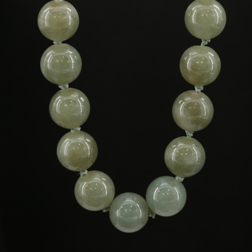 Jadeite Bead Necklace with 14K Gold Clasp
