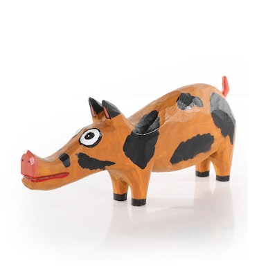 Harry Jennings Folk Art Carved Wood Pig