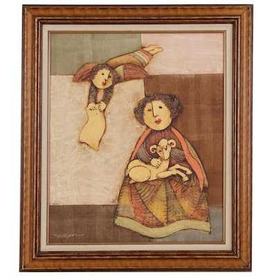 Joyce Roybal Oil Painting of Angel and Child