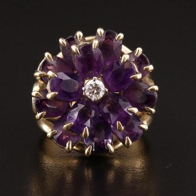 1960s Tiffany & Co. 18K Diamond and Amethyst Flower Ring