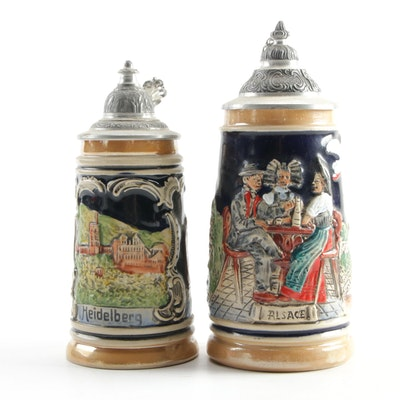 "Zöller and Born ""Alsace"" and German ""Heidelberg"" Beer Steins"