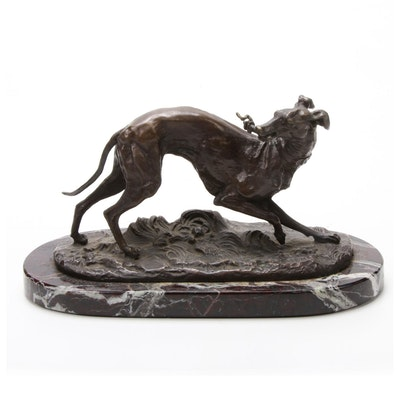 Bronze Fetching Greyhound Sculpture on Marble Base After Pierre Jules Mène