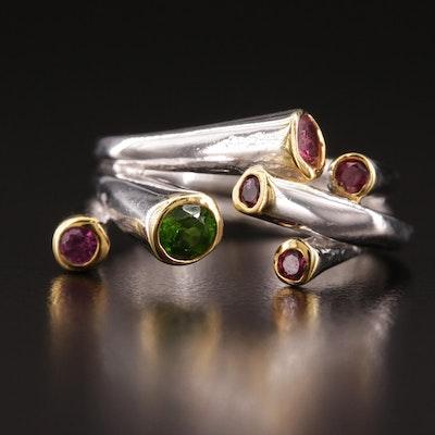 Sterling Silver Diopside, Rhodolite Garnet and Tourmaline Ring