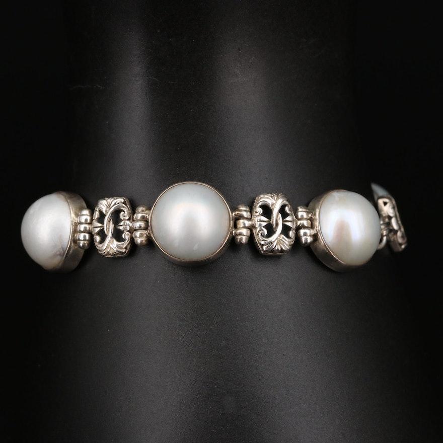 Sterling Silver Mabé Pearl Station Bracelet