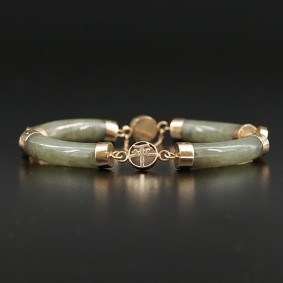 14K Gold Jadeite Bar Link Bracelet with Chinese Characters