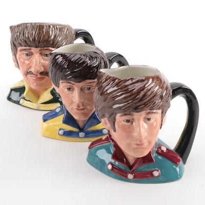 "Royal Doulton ""The Beatles"" John, Paul, and Ringo Porcelain Character Mugs"