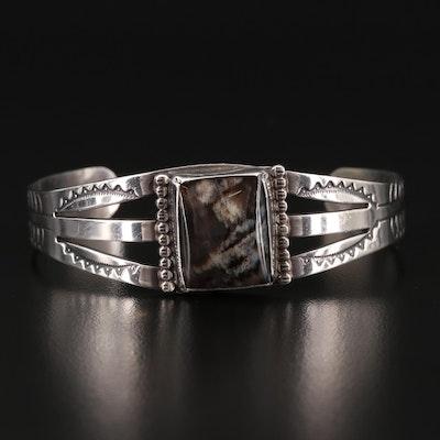 Sterling Silver Agate Western Cuff Bracelet