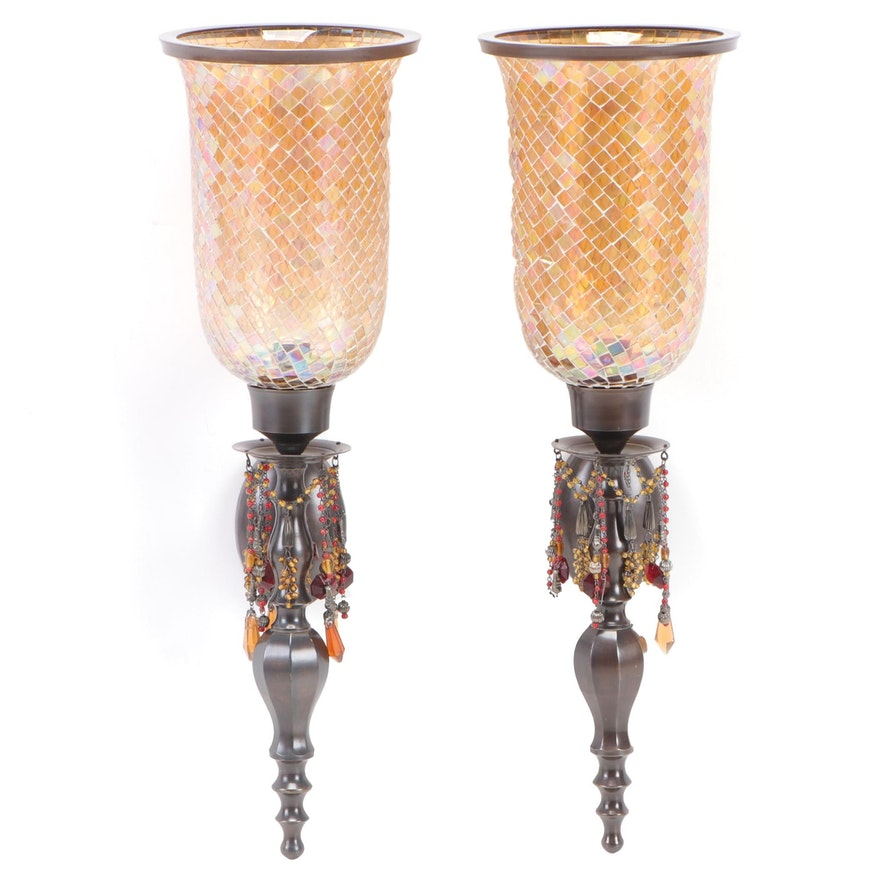 Bombay Co. Bronze Finish and Beaded Candle Wall Sconces with Mosaic Shades
