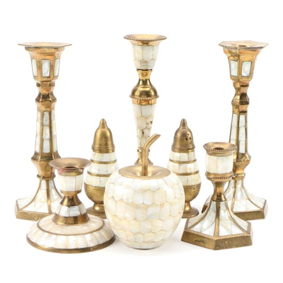Indian Brass and Mother of Pearl Candlesticks, Shakers, and Décor