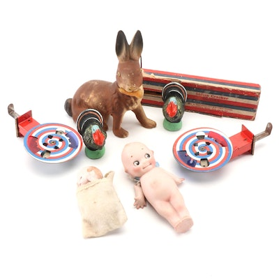 Carnival Prizes and a Papier Mâché Rabbit Candy Container