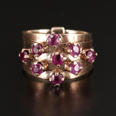 14K Gold Ruby Stacking Rings