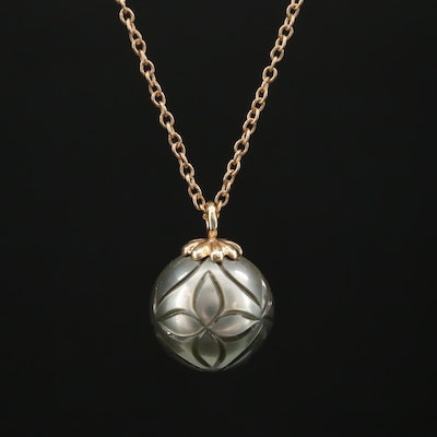 14K Carved Cultured Pearl Pendant Necklace