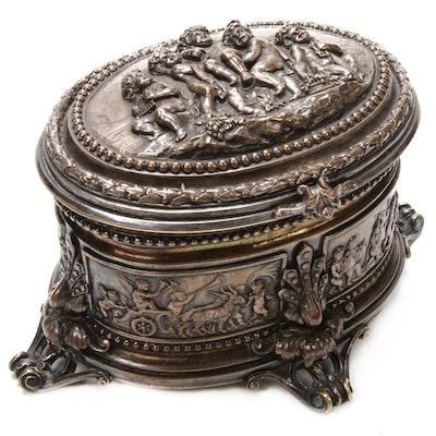 Deep Repoussé Silver Plate Cherub Vanity Box