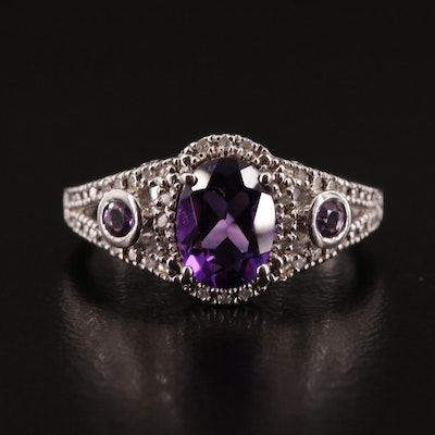 Sterling Silver Amethyst and Diamond Filigree Ring