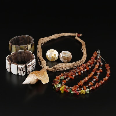Collection of Jewelry Including Shell Necklace and Mother of Pearl Rings