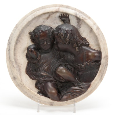 """Edward William Wyon """"Calmody Children"""" Bronze Bas-Relief on Marble, c. 1848"""