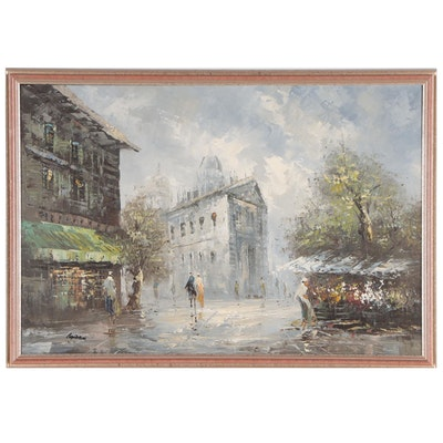 Oil Painting of a Parisian Street Scene