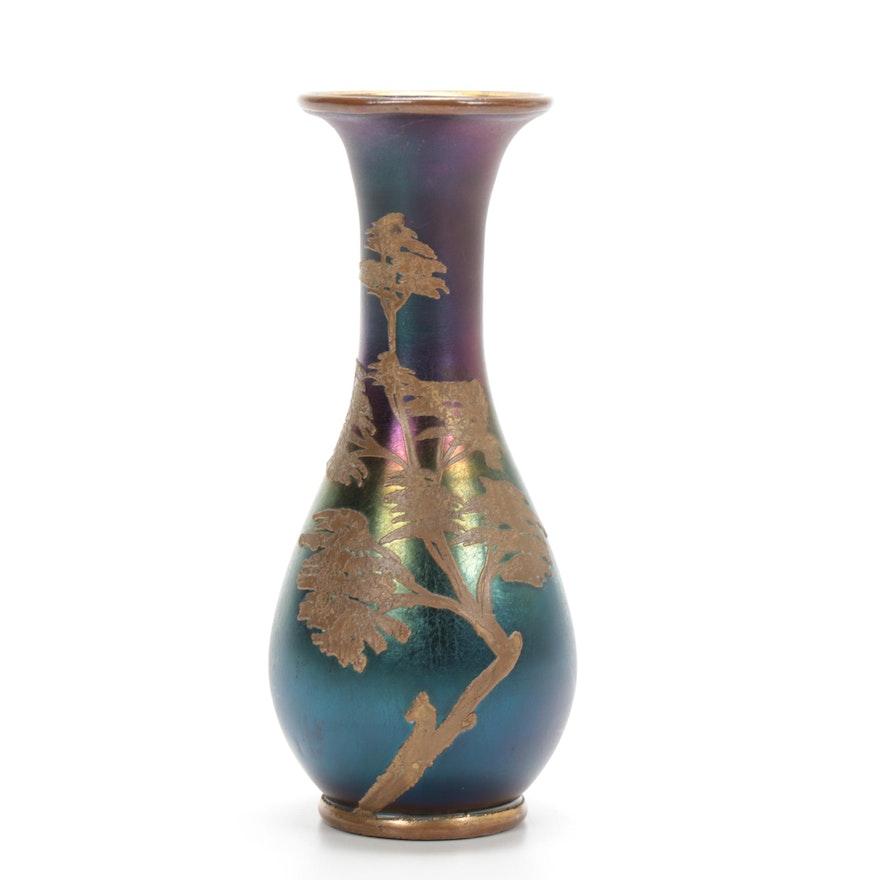 Iridescent Glass and Brass Tree Motif Vase