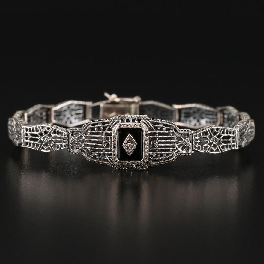 Vintage Sterling Silver, Black Onyx and Diamond Filigree Panel Bracelet