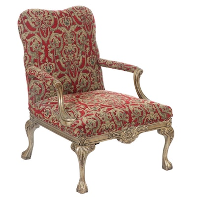Chippendale Style Upholstered Armchair, Contemporary