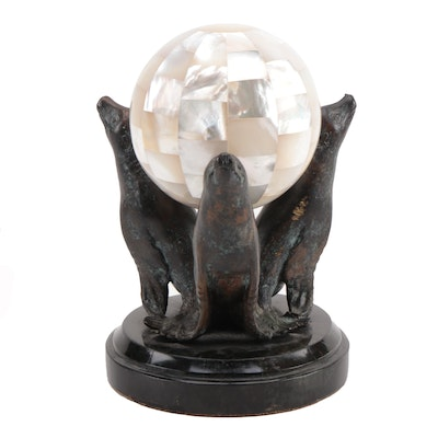 Maitland-Smith Patinated Brass and Mother-of-Pearl Seal Figurine