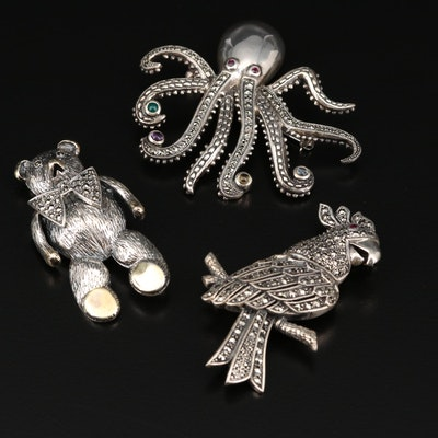 Sterling Silver Parrot, Teddy Bear and Octopus Brooches with Marcasite and Ruby