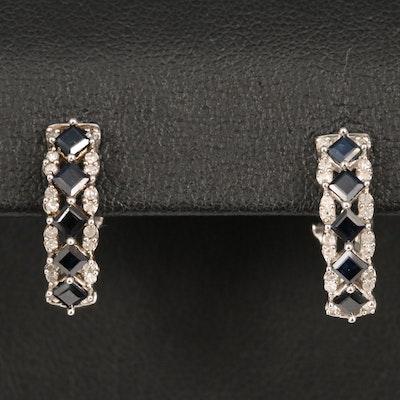 Sterling Sapphire and Diamond J-Hoop Earrings