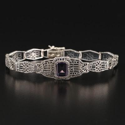 Vintage Brand Sterling Silver Amethyst Bracelet