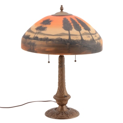 Art Nouveau Gilt Metal Table Lamp with Reverse Painted Shade