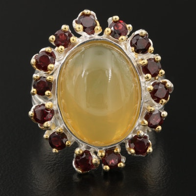Sterling Common Opal Ring with Garnet Halo