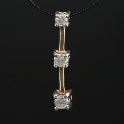 10K Diamond Graduated Drop Pendant