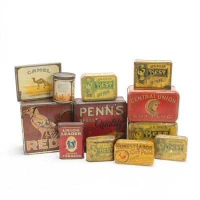 J.G. Dill's Best Cut Plug and Camel Cigarette and Pipe Tins, Early/Mid-20th C.